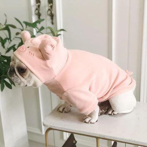 french bulldog pig plush hoodie