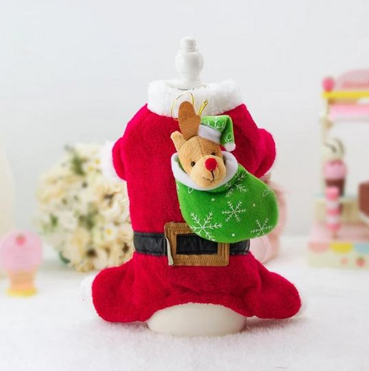 santa paws costume for french bulldogs