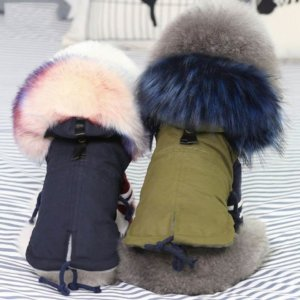 slick parka with oversized fur collar