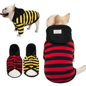 striped hooded dog shirt by frenchie world